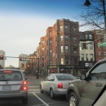 view from inside the car of downtown Brookline