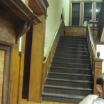 a view of the main stairs in the Yawkey house