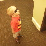 READY! Let's do this! Waiting for the elevator to leave for his first day of clinic testing.