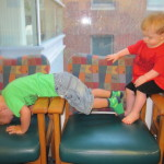 """Playing with his """"soul"""" bestie, John. Both were originally diagnosed with HLHS. Both are 2, blonde hair, and had their heart catheter's at the same time... different docs of course. ;o)"""