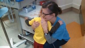 He loves his fave nurses (Lauren)