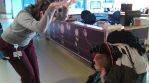Secret handshake with Lyndsay