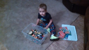 1am AZ time/3am Boston time .... first thing he did is grap his legos when he got home